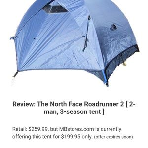 North face 2 person roadrunner tent 3 season